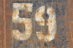 Number fifty nine on rusty metal Stock Photo