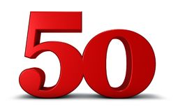 Number fifty. On white background - 3d rendering Stock Image