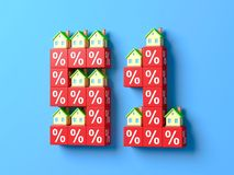 Number Fifty One With Miniature Houses And Red Percentage Blocks. 3d Illustration stock illustration