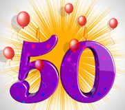 Number Fifty Party Mean Red Wax Or Bright Flame Stock Image
