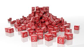 Number  fifty and percent symbols. On red boxes Royalty Free Stock Photo