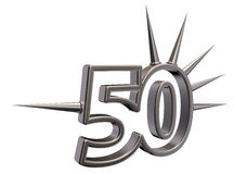 Number fifty with prickles. On white background - 3d illustration Stock Photo