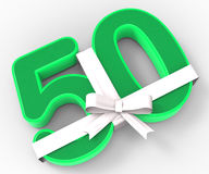 Number Fifty With Ribbon Displays Fiftieth Birthday Celebration Stock Photography
