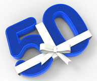 Number Fifty With Ribbon Shows Fiftieth Stock Photos