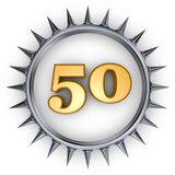Prickles number. Number fifty in ring with spikes on white background - 3d illustration Royalty Free Stock Photography