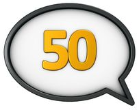 Number fifty. In speech bubble - 3d rendering Stock Image