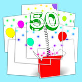 Number Fifty Surprise Box Displays Creative Celebration Or Colou Stock Images