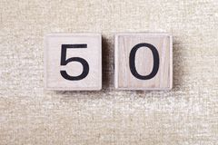 Number  fifty  50 wooden cubes Stock Photos