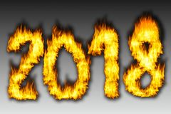 Number 2018 from fire with grey background. Happy New Year 2018 Royalty Free Stock Images