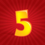 Number five. Number 5 over a red star background Royalty Free Stock Images