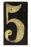 Number five. Painted on the board Stock Photos