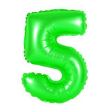 Number 5 five from balloons green Stock Photo