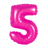 Number 5 five from balloons pink Royalty Free Stock Photos