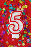 Number five birthday candle Stock Image