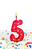 Number five candle. Red number five birthday candle Royalty Free Stock Photo