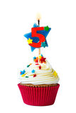 Number five cupcake Royalty Free Stock Photo