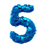 Number five 5 made of broken plastic blue color isolated white background royalty free illustration
