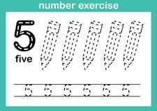 Number five exercise. Illustration vector stock illustration