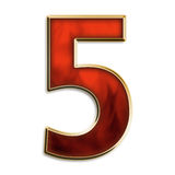 Number five in fiery red. Number 5 in fiery red & gold isolated on white series Royalty Free Stock Photos