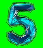 Number 5 five in low poly style blue color isolated on green background. 3d. Rendering Stock Illustration