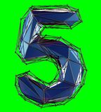Number 5 five in low poly style blue color isolated on green background. 3d royalty free illustration