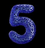 Number 5 five made of blue plastic with abstract holes isolated on black background. 3d. Rendering Royalty Free Stock Photos