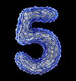 Number 5 five made of blue plastic with abstract holes isolated on black background. 3d. Rendering royalty free illustration