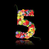 Number five made from fruits. Stock Photos