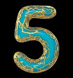 Number five 5 made of golden shining metallic with blue paint isolated on black 3d stock illustration