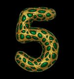 Number 5 five made of golden shining metallic 3D with green glass isolated on black background. 3d rendering vector illustration