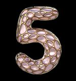Number 5 five made of golden shining metallic 3D with pink glass isolated on black background. 3d rendering Stock Images