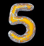 Number five 5 made of golden shining metallic with yellow paint isolated on black 3d. Rendering stock illustration