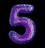 Number 5 five made of purple plastic with abstract holes isolated on black background. 3d. Rendering Royalty Free Illustration