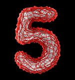 Number 5 five made of red plastic with abstract holes isolated on black background. 3d. Rendering royalty free illustration