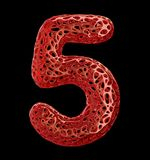 Number 5 five made of red plastic with abstract holes isolated on black background. 3d. Rendering vector illustration