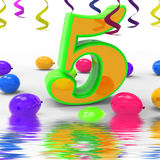 Number Five Party Displays Multi Coloured Decorations And Confet Stock Image
