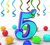 Number Five Party Means Creativity Or Colourful stock illustration