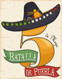Number Five, Ribbon and Charro Hat for Cinco de Mayo, Vector Illustration royalty free illustration