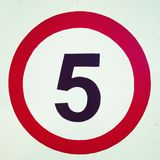 Number Five. 5 roadsign speed limit Royalty Free Stock Photos