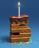 Number five shaped birthday cake. With candle Stock Image