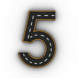 Number five symbols of the Figures in the form of a road with white and yellow line markings 3d rendering Stock Photography