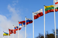 A number of flags of states against the blue sky Royalty Free Stock Image