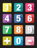 Number flat icon sets. Colourful number flat icon sets Royalty Free Stock Photos