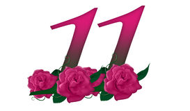 Number 11 floral. Cute pink rose decorated number royalty free illustration