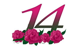 Number 14 floral. Cute pink rose decorated number Stock Image