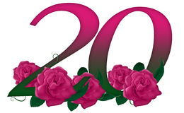 Number 20 floral. Cute pink rose decorated number Royalty Free Stock Photo