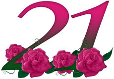 Number 21 floral. Cute pink rose decorated number Stock Photos