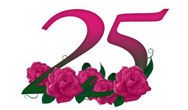 Number 25 floral. Cute pink rose decorated number Royalty Free Stock Photos