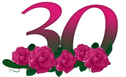 Number 30 floral. Cute pink rose decorated number Royalty Free Stock Image