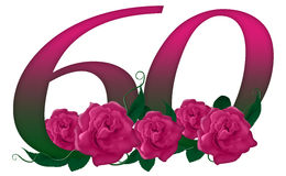 Number 60 floral. Cute pink rose decorated number Stock Illustration